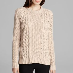 Theory Innis Aria Cream Cable Knit Sweater